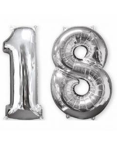 Balon folie numarul 18 argintiu 86 cm, 33866
