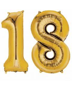 Balon folie numarul 18 auriu 86 cm, cod 33813